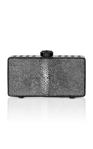 Medium bougeotte black titanium best secret keeper clutch in black and silver galuchat
