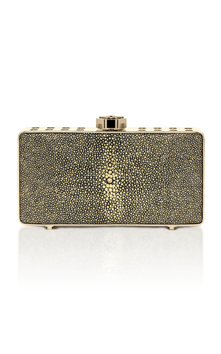 Medium bougeotte gold titanium best secret keeper clutch in black and gold galuchat