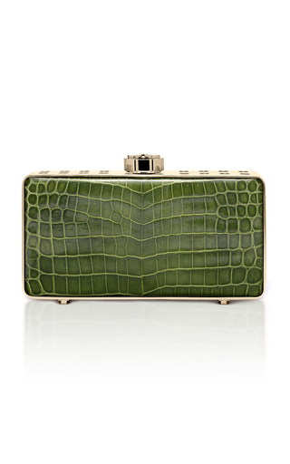 Medium bougeotte green titanium best secret keeper clutch in green crocodile