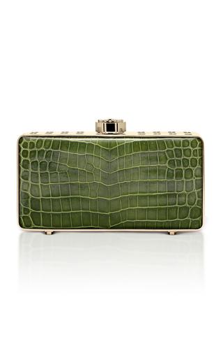 Medium bougeotte green titanium best secret keeper clutch in green crocodile