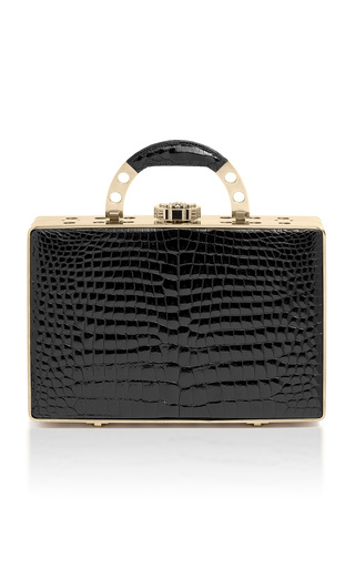 Medium bougeotte black titanium best secret keeper midi case in black crocodile