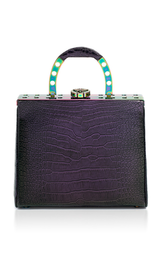 Medium bougeotte multi titanium best secret keeper midi purse in iridescent crocodile