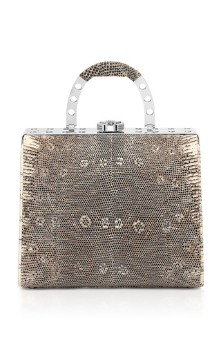 Medium bougeotte silver titanium best secret keeper midi purse in natural lizard