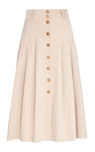 Medium flow the label neutral pleated button up skirt