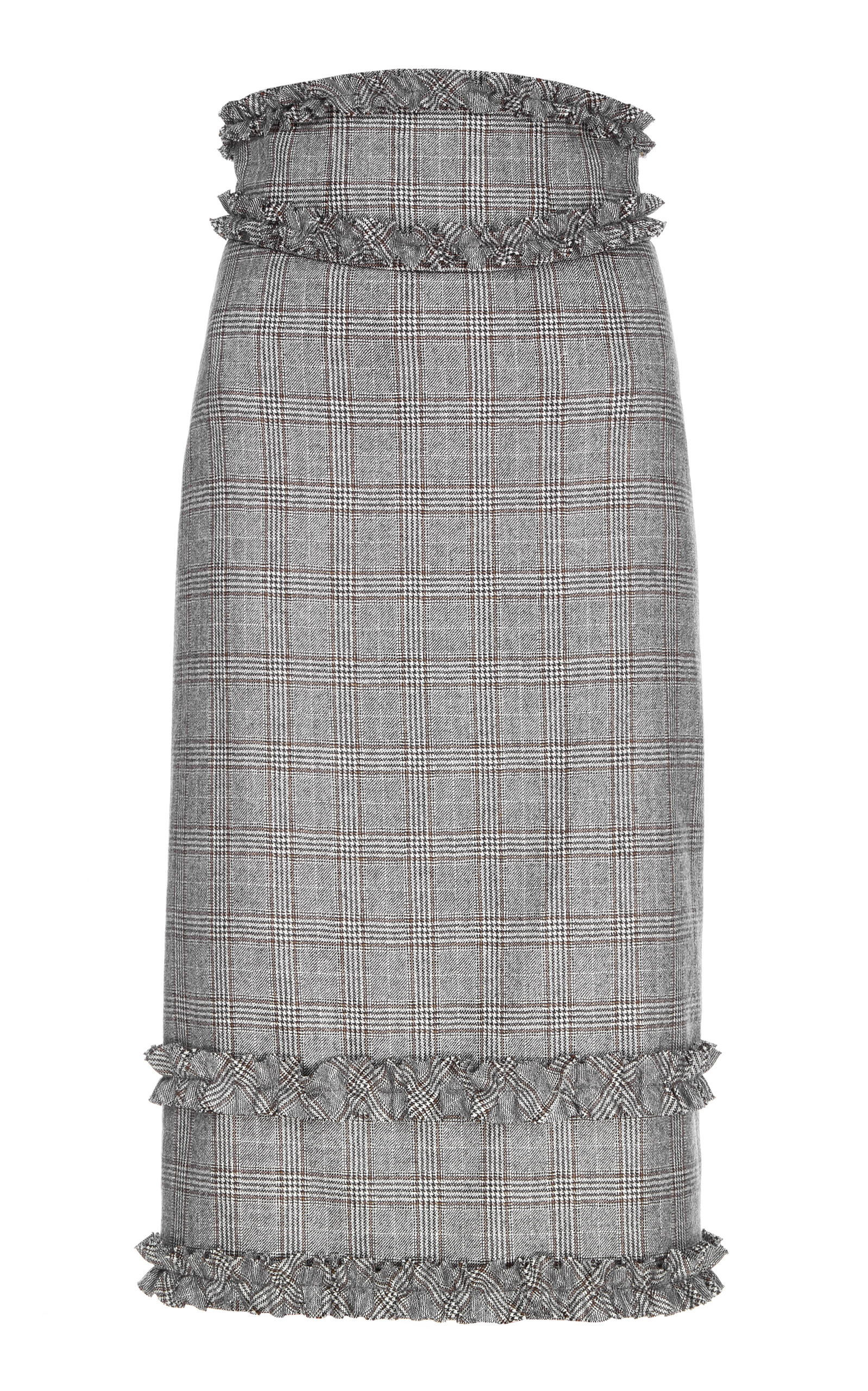 Plaid Wool Pencil Skirt