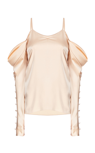 Medium flow the label gold gold draped cold shoulder blouse