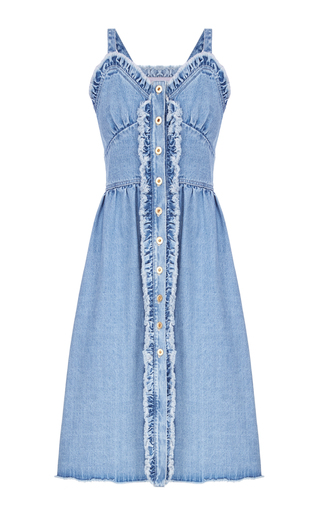 Medium flow the label blue denim ruffled tank dress