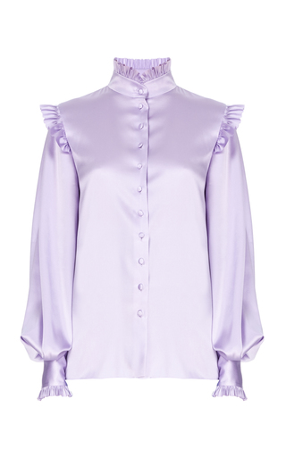Medium flow the label purple ruffled shoulder poet blouse