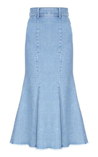 Medium flow the label blue fluted denim skirt
