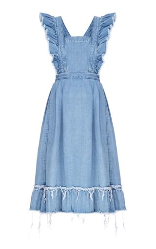 Medium flow the label blue ruffled denim apron dress
