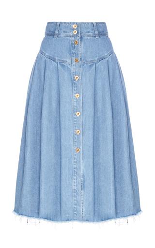 Medium flow the label blue pleated denim skirt