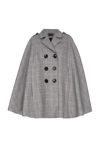 Medium flow the label grey plaid wool cape