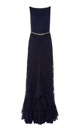 Medium martha medeiros navy crepe lace long dress