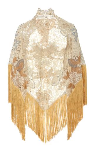 Medium martha medeiros gold embroidered shawl with fringe trim 3