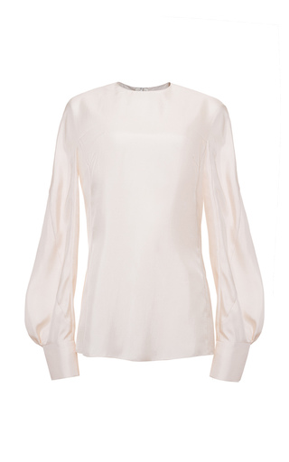 Medium lake studio white crew neck poet blouse