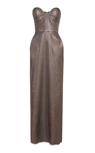 Medium lake studio gold metallic bustier midi dress