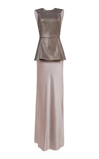 Medium lake studio metallic peplum maxi dress