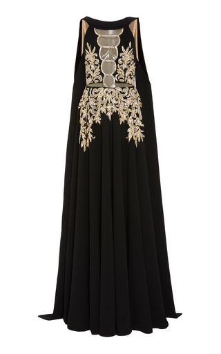 Medium georges hobeika black sequin embroidered crepe gown