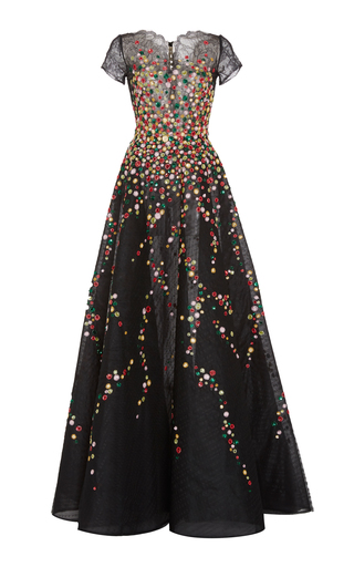 Medium georges hobeika black sequin and bead embroidered gown