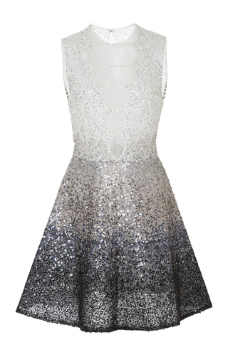 Medium georges hobeika silver sequin embroidered short dress