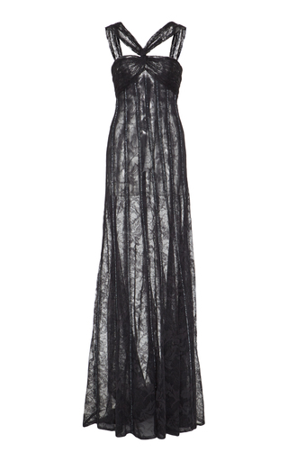 Medium georges hobeika black sequin and lace gown