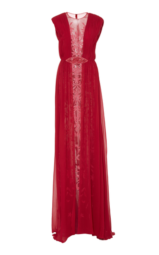 Medium georges hobeika pink bead embroidered sleeveless gown