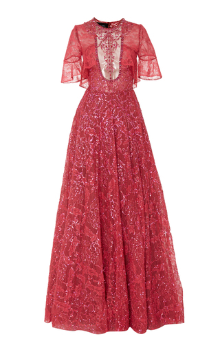 Medium georges hobeika pink sequin and bead embroidered ball gown