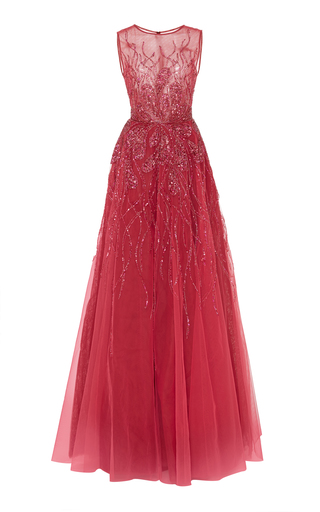 Medium georges hobeika pink bead embroidered illusion ball gown