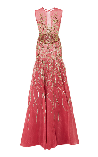 Medium georges hobeika pink bead embroidered tulle gown