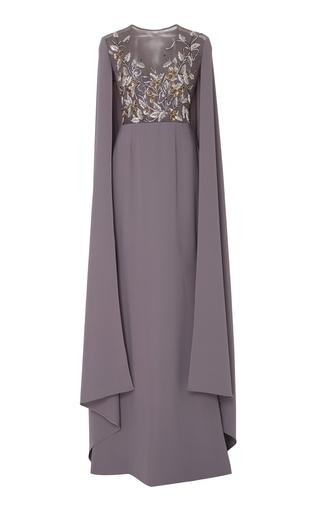 Medium georges hobeika grey bead embroidered cape dress