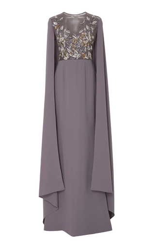 Medium georges hobeika grey bead embroidered cape dress