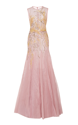Medium georges hobeika pink bead embroidered tulle gown 2