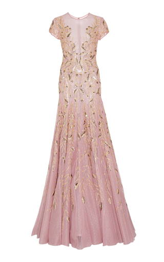 Medium georges hobeika pink cap sleeve bead embroidered gown