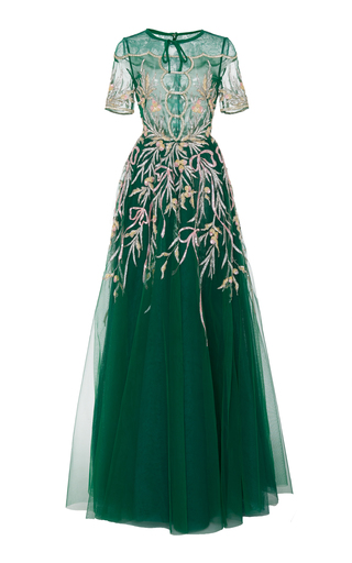 Medium georges hobeika green sequin embroidered short sleeve gown