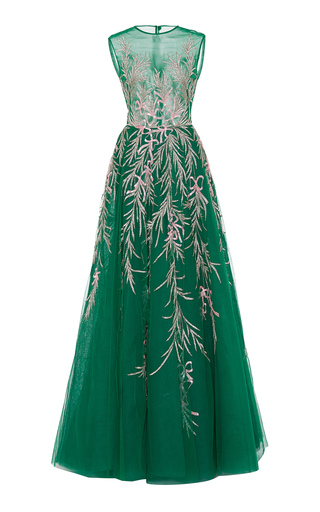 Medium georges hobeika green sleeveless bead embroidered ball gown