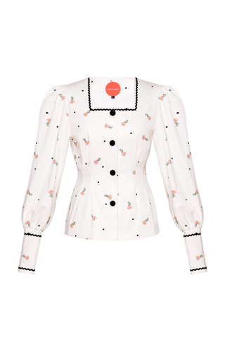 Medium marianna senchina white floral puff shoulder jacket