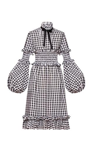 Medium marianna senchina black white gingham balloon sleeve dress