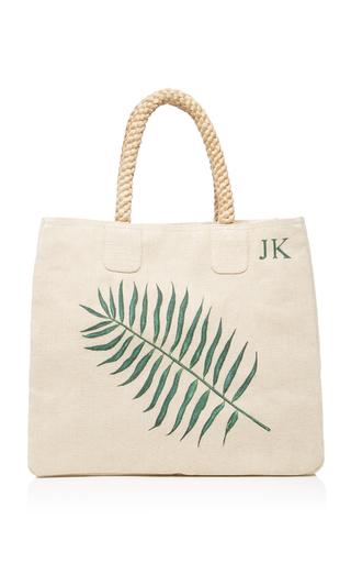 Medium rae feather neutral caterpillar palm leaf monogram canvas shoulder bag
