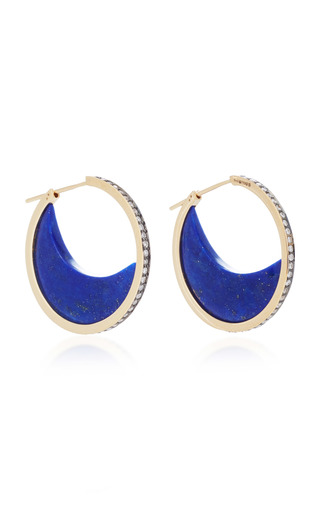 Medium noor fares blue chandra crescent earrings in yellow gold with lapis lazuli crescents diamonds