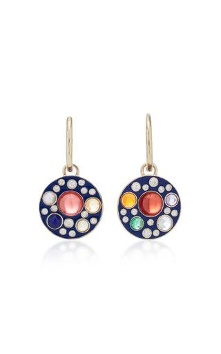 Medium noor fares multi upratna drop earrings in blue enamel grey gold with various coloured stones diamonds