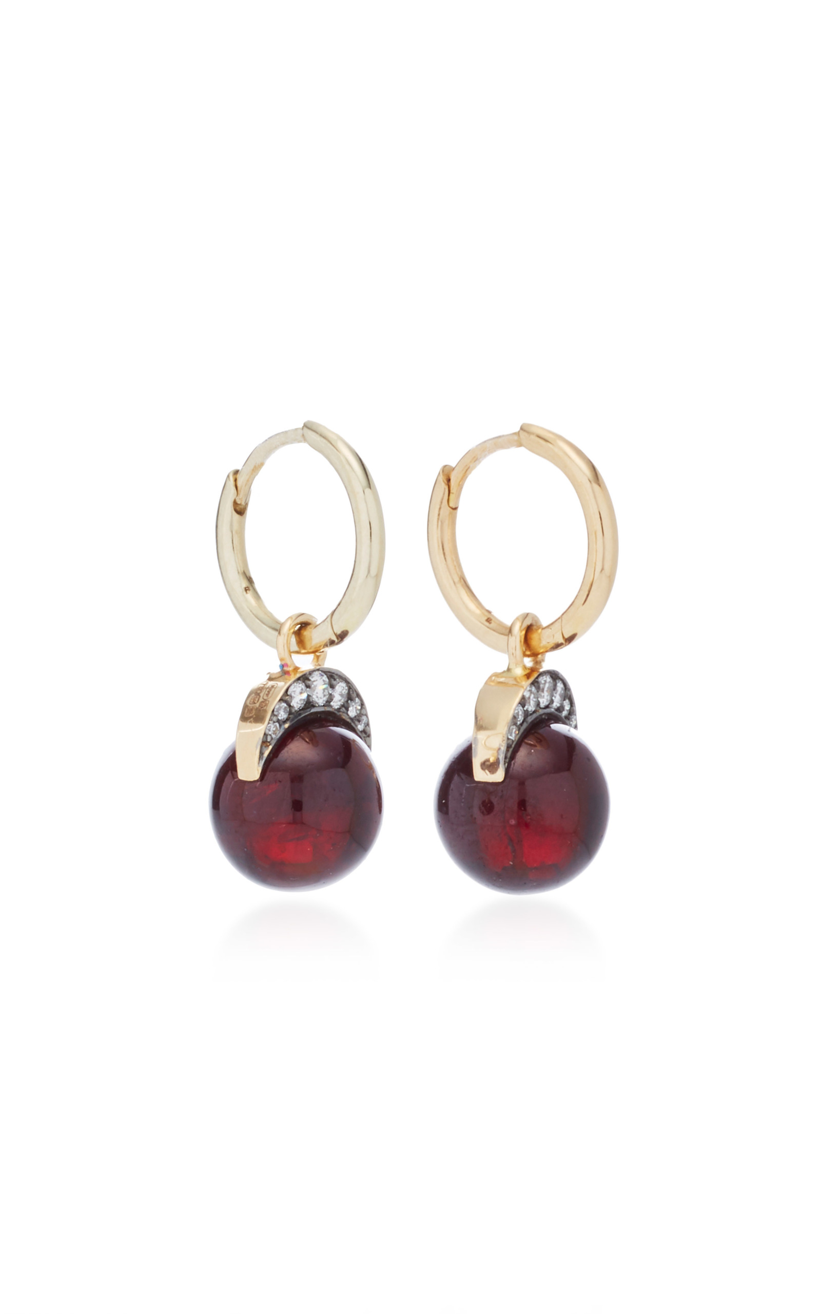 Mala Drop Earrings in Yellow Gold with Garnet &