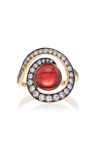 Medium noor fares red planet spiral ring in yellow gold with garnet diamonds
