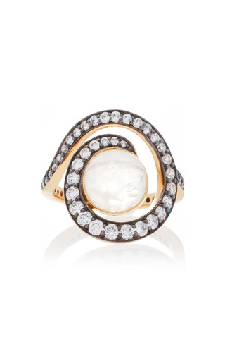 Medium noor fares white planet spiral ring in yellow gold with rainbow moonstone diamonds