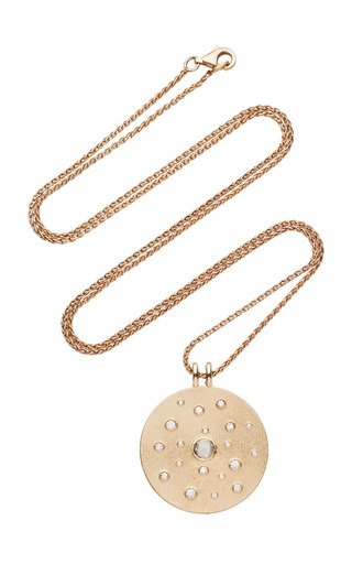 Medium noor fares gold inle large amulet pendant in grey gold with rose cut diamond diamonds