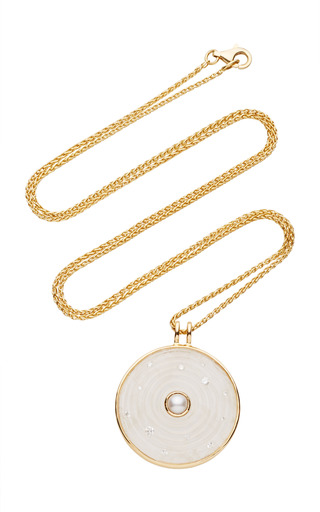 Medium noor fares white inle large amulet pendant in yellow gold with carved moonstone pearl diamonds