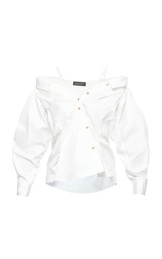 Medium anna october white off the shoulder button up shirt