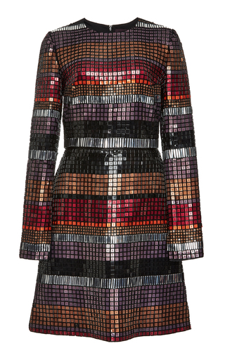 Medium bibhu mohapatra multi embroidered mosaic long sleeve dress