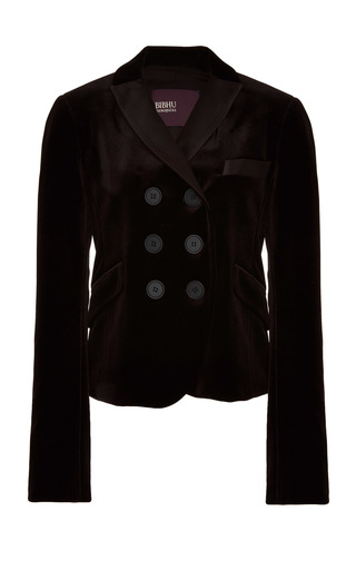 Medium bibhu mohapatra black double breasted velvet jacket