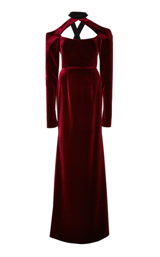 Medium bibhu mohapatra red velvet column gown