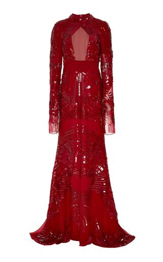 Medium bibhu mohapatra red beaded long sleeve gown